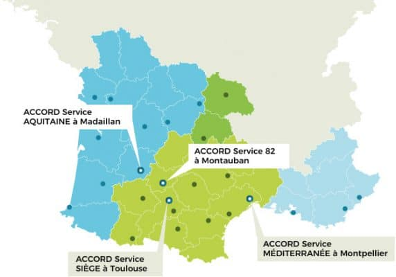 Carte des implantations d'Accord Service en France